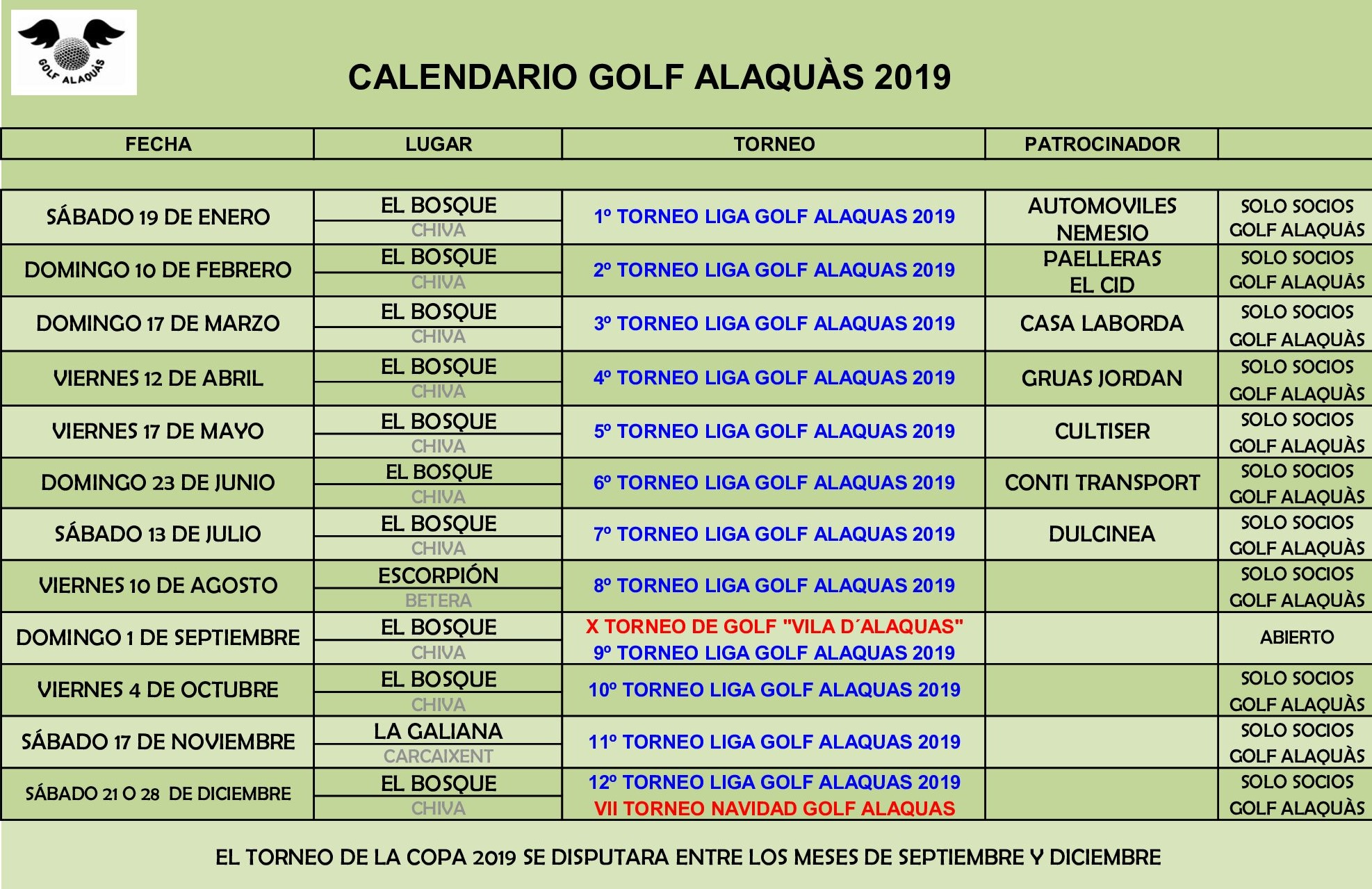 CALENDARIO GOLF ALAQUAS 2019