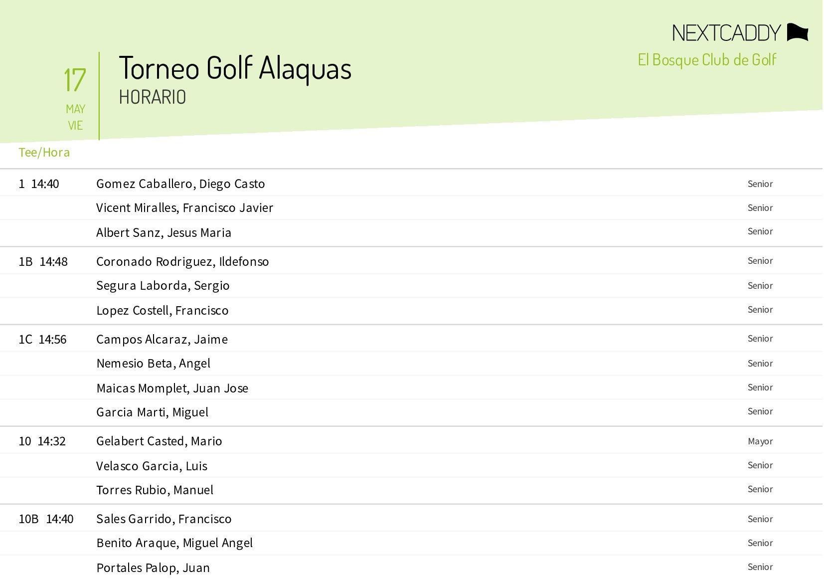 horario golf alaquas