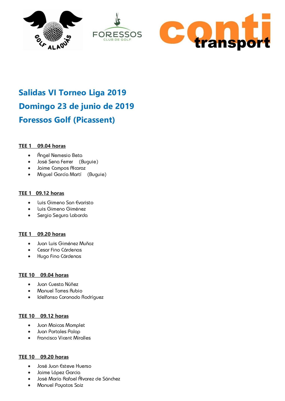 Salidas VI Torneo Liga 2019