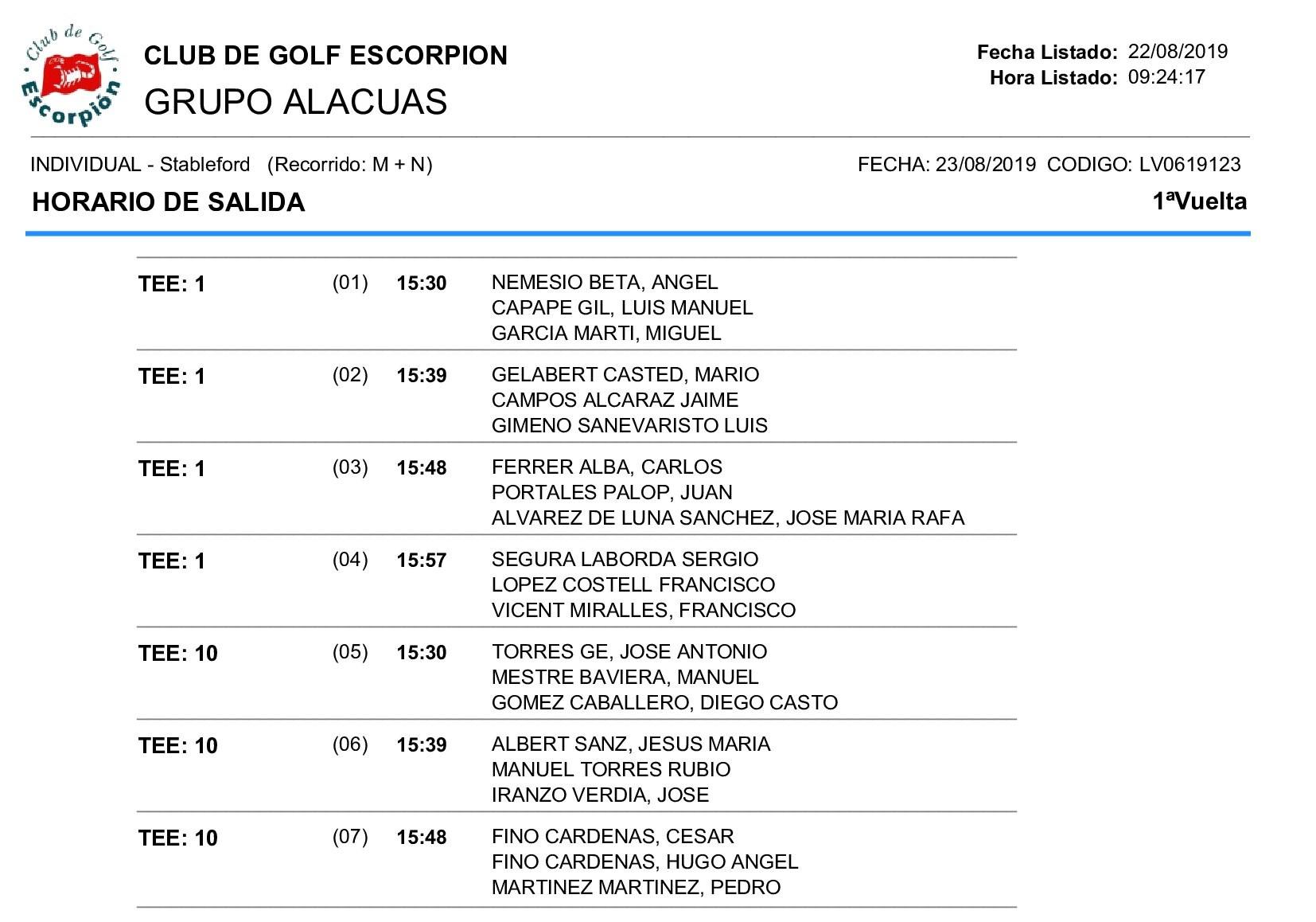 HORARIOS DE SALIDA 23-08-19