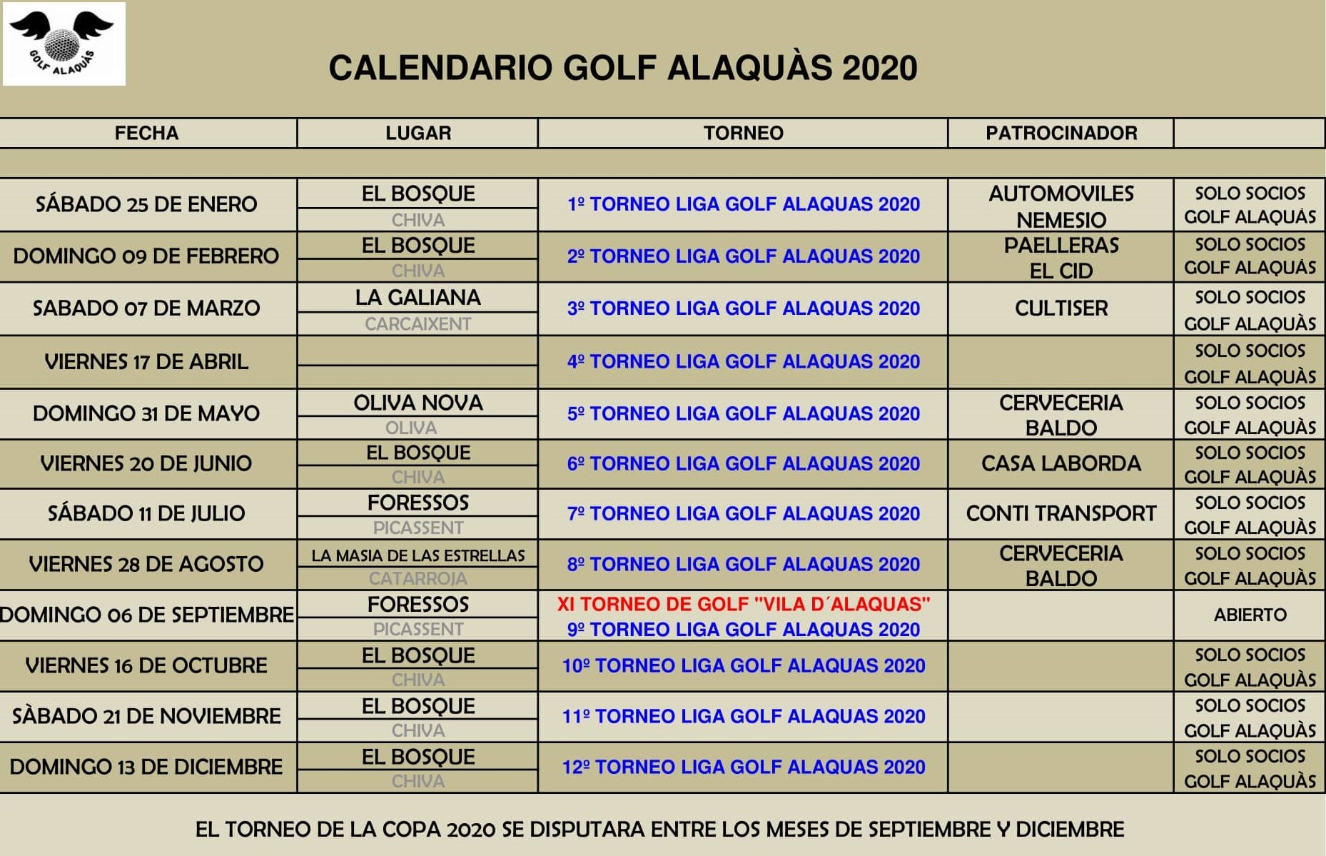 CALENDARIO GOLF ALAQUAS 2020