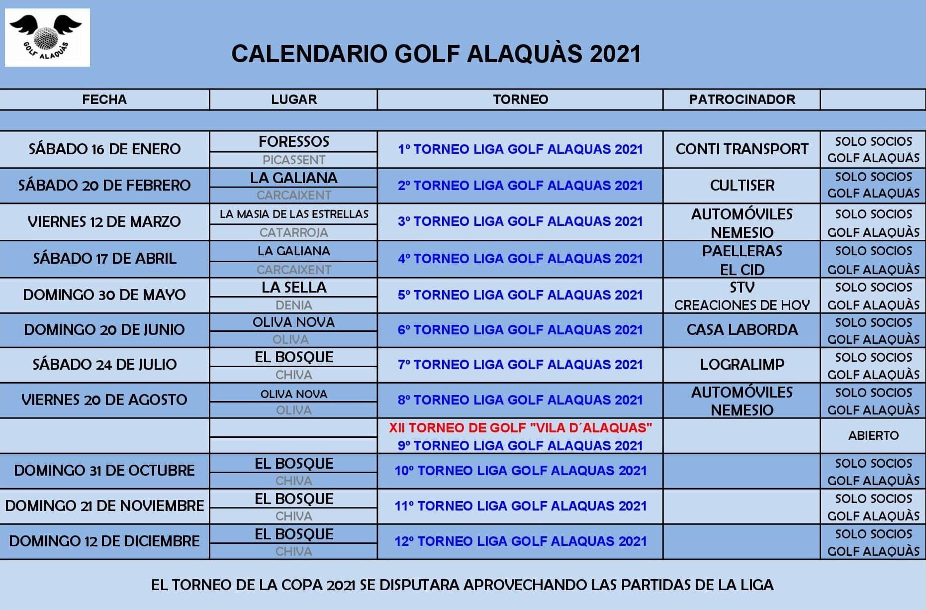 CALENDARIO GOLF ALAQUAS 2021