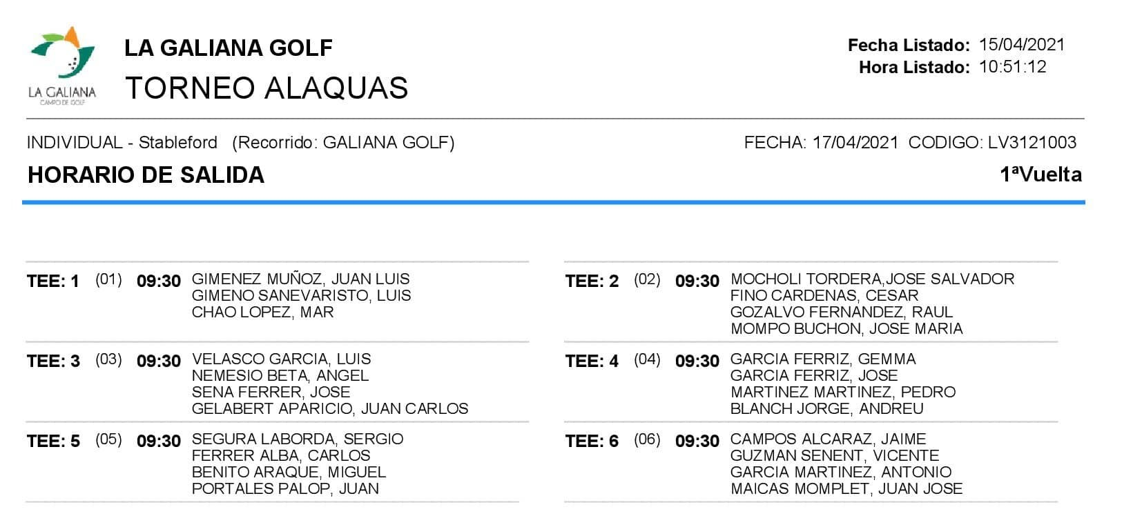 SALIDAS TORNEO ALAQUAS 17.4.21